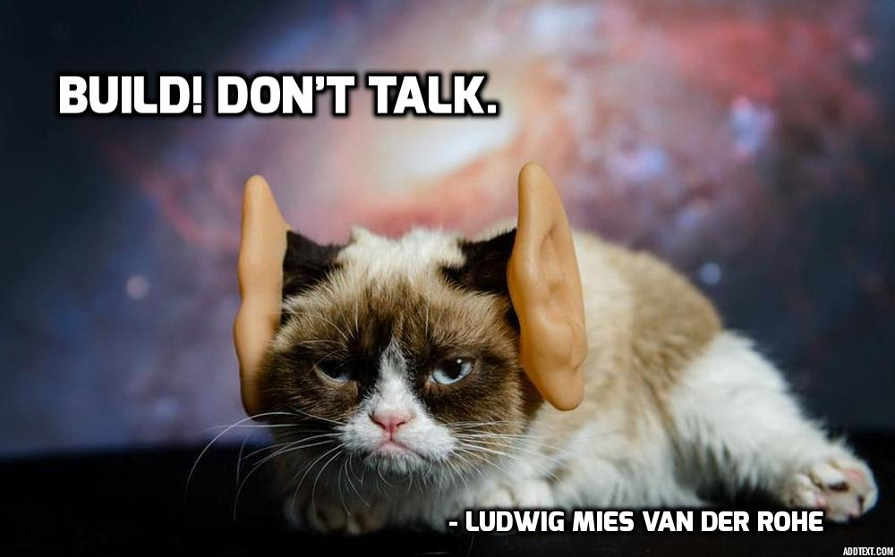 Ludwig Mies ven der Rohe, build, architect, quote, grumpy cat, architecture