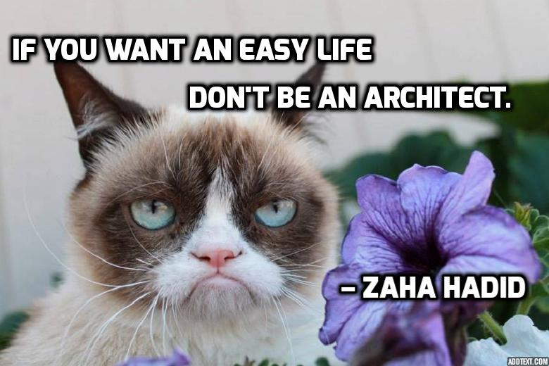 Zaha Hadid, architect, quote, easy life, architecture, grumpy cat