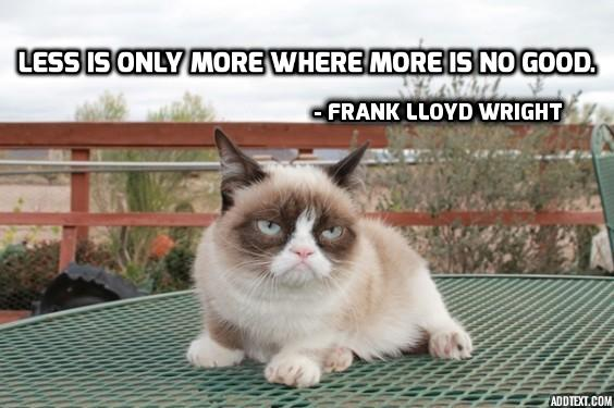 Frank Lloyd Wright, quote, architect quote, less is more, design, grumpy cat