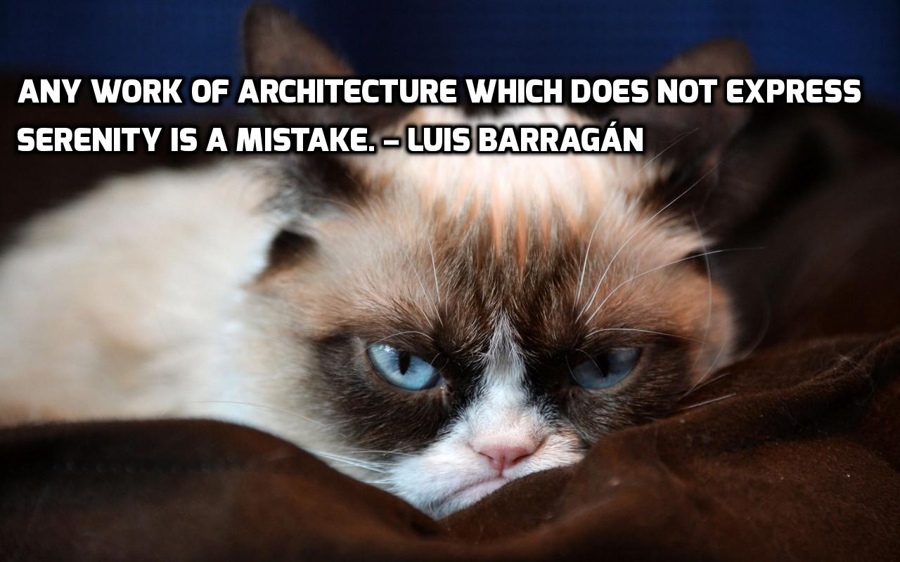 Luis Barragan, serenity, architecture, quote, architect, grumpy cat