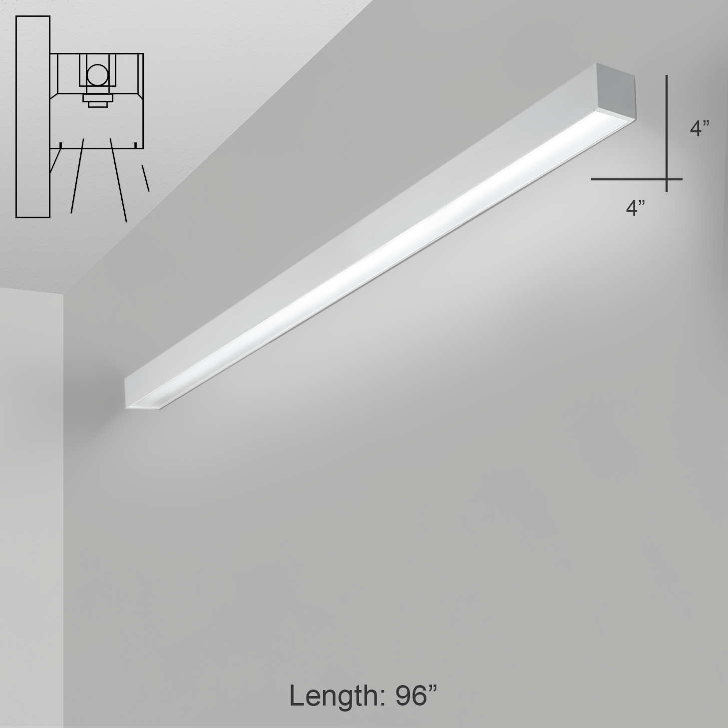 Alcon Lighting 11141 8 W I44 Series Architectural Led Foot Linear Wall Mount Direct Light Fixture