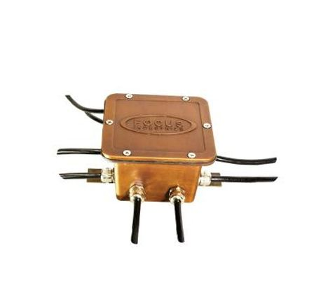 Focus FA-H2-0JB25F Octopus Brass Underwater Junction Box with 25 Foot Cable 12 Volt