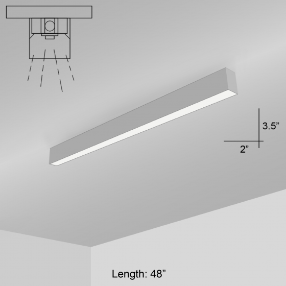 Alcon Lighting 12200-2-S RFT Series Architectural LED Linear Surface Mount Direct Light Fixture