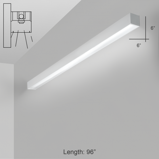 Alcon Lighting 12200-6-W-8 RFT Series Architectural LED 8 Foot Linear Wall Mount Direct Light Fixture