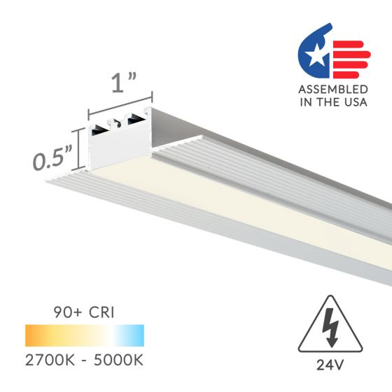 Image 1 of Alcon Lighting 12100-10-LR Shallow Continuum 10 Architectural LED Trimless Linear Low Profile Recessed Mount Direct Down Light Fixture