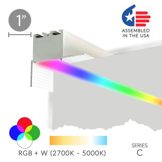Image 1 of Alcon 12100-10-PR-RGBW Linear Trimless Recessed Wall Wash Color-Changing LED Light