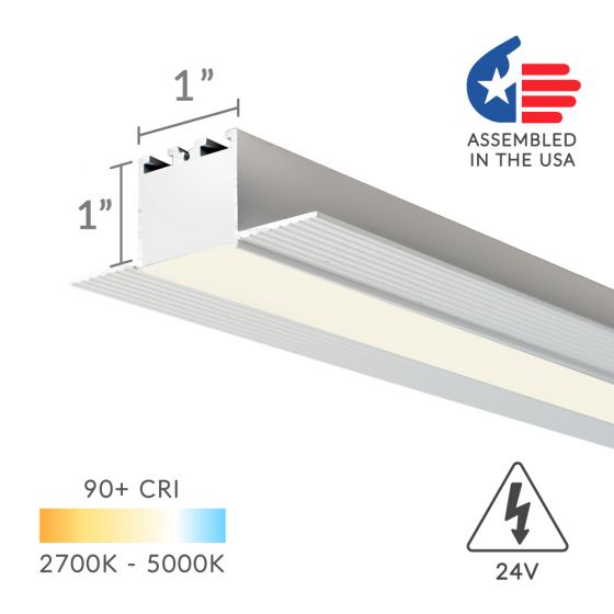 Image 1 of Alcon Lighting 12100-10-R Continuum 10 Architectural LED 1 Inch Trimless Linear Recessed Mount Direct Down Light Fixture