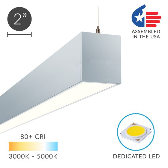 Image 1 of Alcon Lighting 12100-23-P-OP Continuum 23 Series Architectural LED Linear Pendant Mount Direct/Indirect Light Fixture