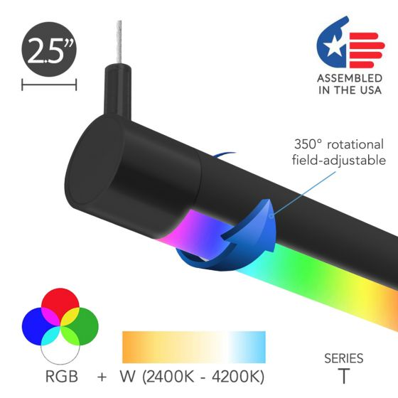 Image 1 of Alcon 12100-R2-RGBW-P Color-Tunable Adjustable LED Tube Light Pendant