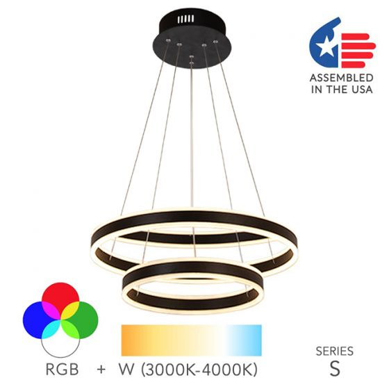 Image 1 of Alcon Lighting 12270-2 Redondo Suspended Architectural LED 2 Tier Ring Direct Indirect Chandelier Light