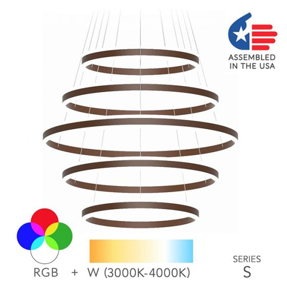 Image 1 of Alcon Lighting 12270-5 Redondo Suspended Architectural LED 5 Tier Ring Direct Indirect Chandelier Light