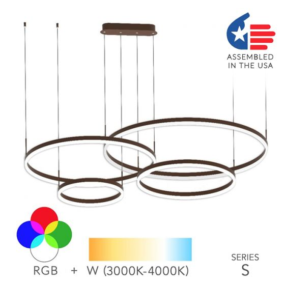 Image 1 of Alcon Lighting 12279-4 Redondo Suspended Architectural LED 4 Tier Ring Direct Indirect Chandelier Light