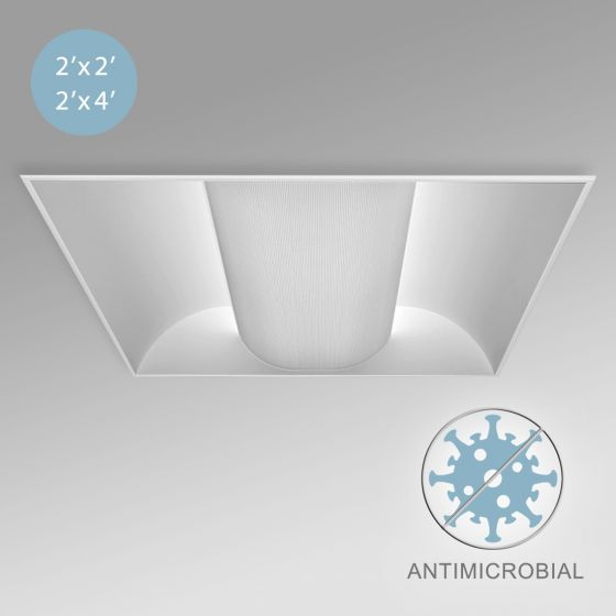 Image 2 of Alcon 12505 Antimicrobial Center Basket Low Profile LED Troffer Light