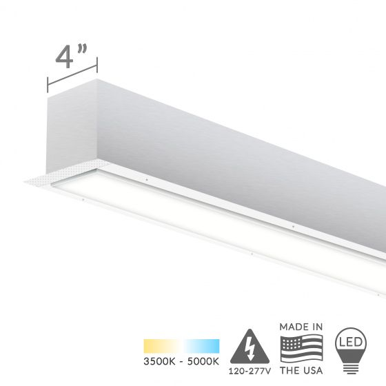 Alcon Lighting 12200-4-R-8 RFT Architectural LED 8 Foot Linear Recessed Mount Direct Light Fixture