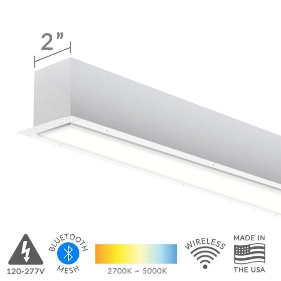 Alcon Lighting 12100-23-R-2 Continuum 23 Series Architectural LED Linear Recessed Mount Direct Down Light Fixture - 2 Foot