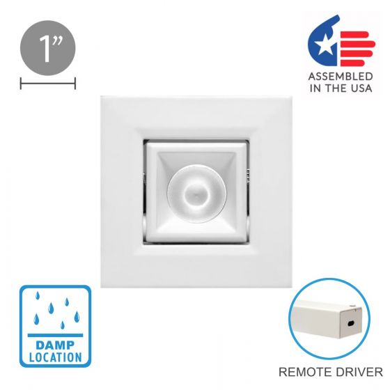 Image 1 of Alcon 14142 Recessed 1-Inch Square Adjustable LED Light