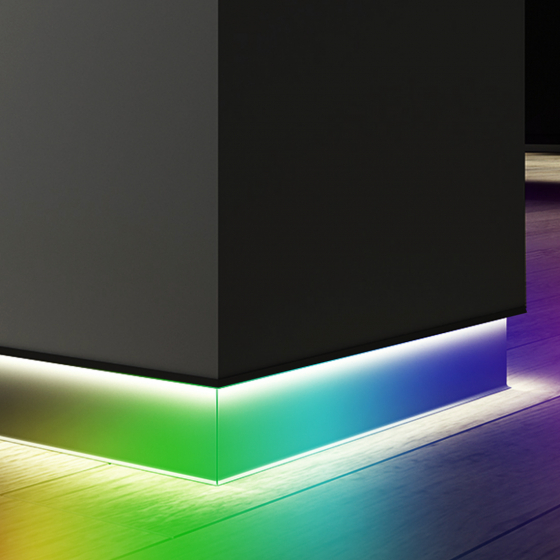 Image 1 of Alcon 15244-RGBW 4-Inch Angled LED Color-Changing Toe Kick Baseboard Light