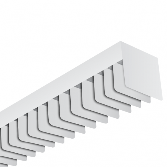Image 1 of Alcon Lighting 6022-S-4 LST Architectural Fluorescent 4 Foot Linear Surface Mount Square Louver Luminaire