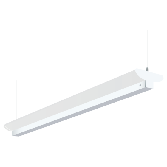 Image 1 of H.E. Williams 79B-8 Industrial Indirect Fluorescent Suspended Light Fixture - 8 FT