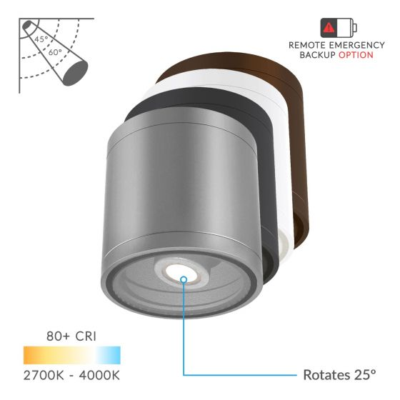 Image 1 of Alcon Lighting 11236-ADJ Pavo Architectural LED 6 Inch Cylinder Surface Ceiling Mount Adjustable Down Light Fixture