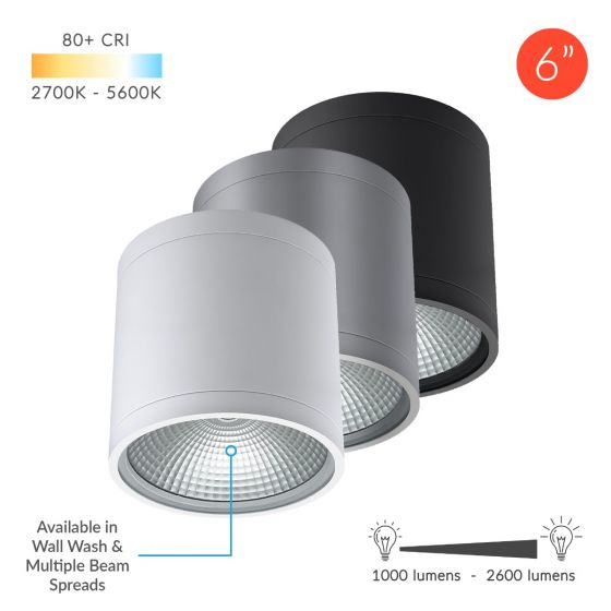Image 1 of Alcon Lighting 11236-DIR Pavo Architectural LED 6 Inch Cylinder Surface Ceiling Mount Direct Down Light Fixture