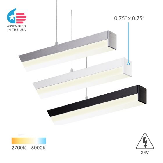 Image 1 of Alcon Lighting 12100-10-P Slim Continuum 10 Series Architectural LED Linear Pendant Direct Down Light Fixture