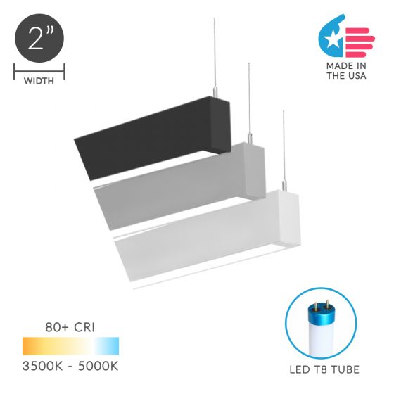 Alcon Lighting 12200-2-P RFT Series Architectural LED Linear Suspended Pendant Mount Direct Light Fixture