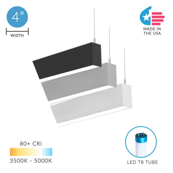 Alcon Lighting 12200-4-P RFT Series Architectural LED Linear Suspended Pendant Mount Direct Light Fixture