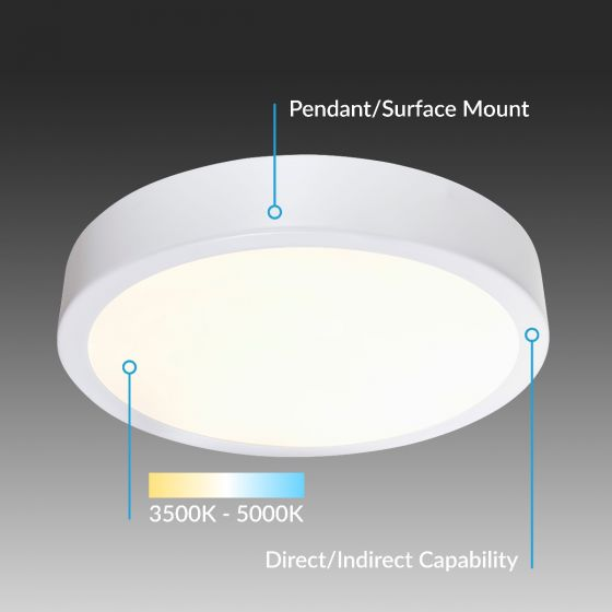 Image 1 of Alcon Lighting 12201-QS Skyline Architectural LED Round Direct/Indirect Light Fixture - 2 Foot