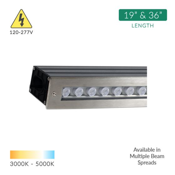 Alcon Lighting 14140 Architectural Linear LED In-Ground Drive-Over Rated Stainless Steel Wall Wash Outdoor Well Light
