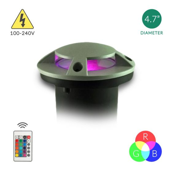 Image 1 of Alcon Lighting 90044 Outdoor LED RGB In-Ground Landscape Light Color Changing LED Well Light Remote Controlled - 100V~240V
