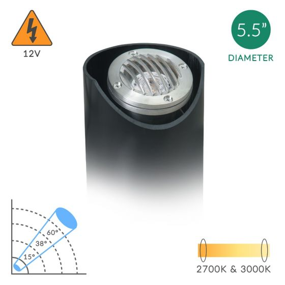 Alcon Lighting Cooper 9025 Architectural Grade LED Low Voltage In-Ground Adjustable Well Light  - Cast Brass or Stainless Steel