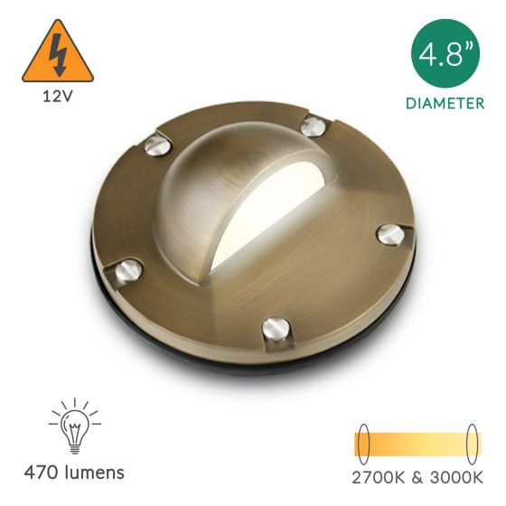 Alcon Lighting 9029 Calvin Architectural Landscape LED Low Voltage Cast Brass In Ground Well Light