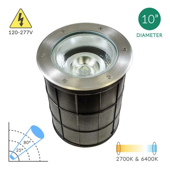Image 1 of Alcon Lighting 9094 Canna Architectural Landscape LED 10 Inch In-Ground Stainless Steel Well Light - 120V~277V