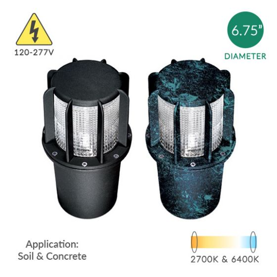 Image 1 of Alcon Lighting 9099 Beacon Architectural Landscape LED 7 Inch In-Ground Cast Aluminum Well Light - 120V~277V