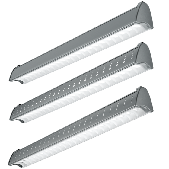 Image 1 of H.E. Williams AXA-8 Architectural Contoured Louver Fluorescent Suspended Light Fixture - 8 FT