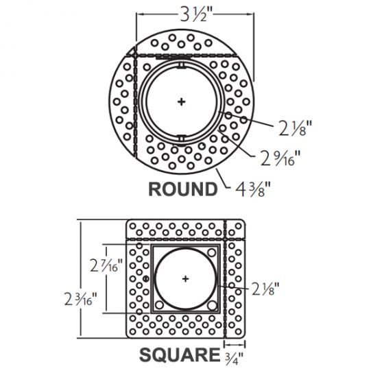 Image 1 of Lightolier Flush Mount Mud-in Ring for Calculite 1.75 Inch Fixtures