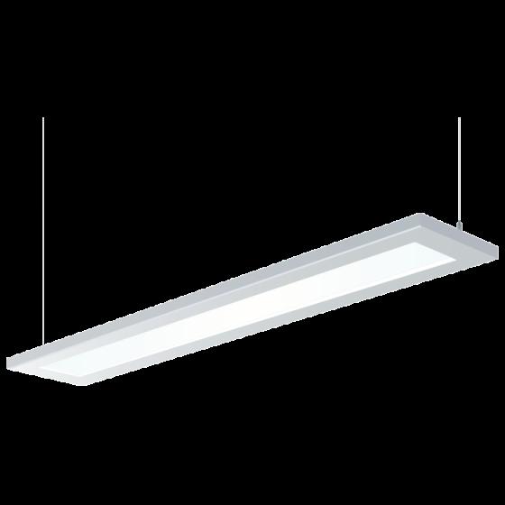 Image 1 of H.E. Williams FP2-8 Beveled Luminous Flat Panel Fluorescent Suspended Light Fixture - 8 FT