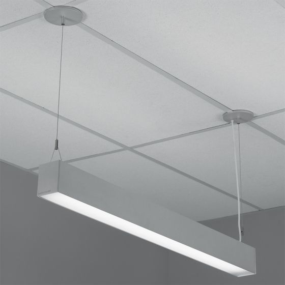Image 1 of Lightolier H-Profile Direct Pendant Lensed T5 Fluorescent Fixture