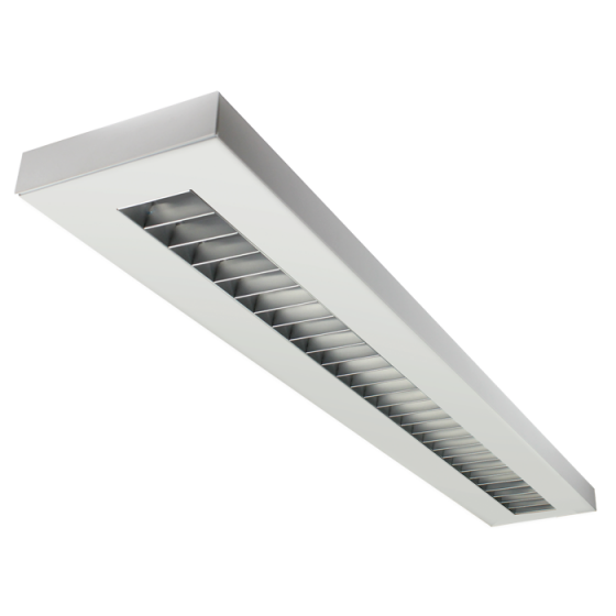 LSI Industries HRZ-4-RPL LiniArc Horizon Housing Parabolic Louver Fluorescent Suspended Light Fixture - Direct/Indirect - 4 FT