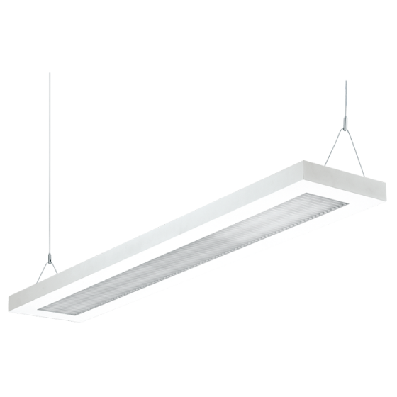 Image 1 of H.E. Williams SDI5 88-Cell Cross Blade Louver T8 Fluorescent Suspended Direct/Indirect Light Fixture - 4 FT