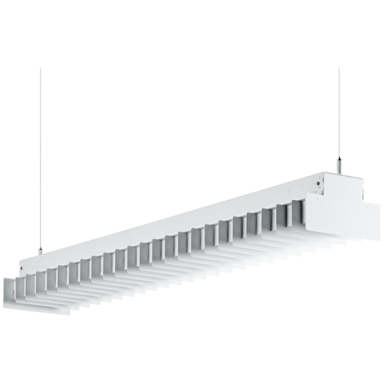 Image 1 of H.E. Williams ST-WB-4 Wrapped Baffle Fluorescent Suspended Light Fixture - 4 FT