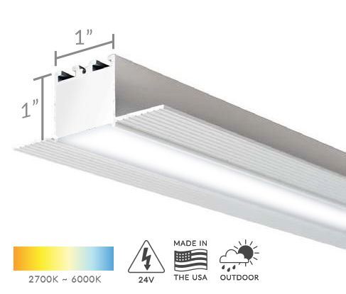 Alcon Lighting 12100-10-R Continuum 10 Architectural LED 1 Inch Trimless Linear Recessed Mount Direct Down Light Fixture
