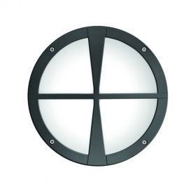 Alcon 11231-D Optic 10-Inch Round Decorative Crossbar Face Guard Architectural LED Wallpack Outdoor Vandal Proof Luminaire