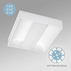 Alcon 12514-S Center Basket Antimicrobial LED Surface-Mounted Troffer Light