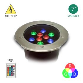 Alcon Lighting London 9034 Aluminum Outdoor LED 9W Remote Controlled RGB Color Changing Well Light  - 100V~240V