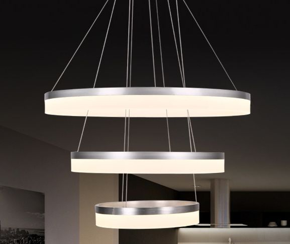 Image 1 of Alcon Lighting 12272-3 Redondo Architectural LED 3 Tier Ring Direct Downlight Chandelier Light