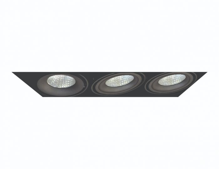 Image 1 of Alcon Lighting 14026-3 Oculare Architectural LED Trimless Adjustable 3 Heads Multiple Recessed Lighting System Direct Down Fixture