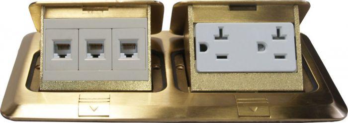 Orbit Brass Industrial Floor Box Pop-up with Duplex Receptacle and RJ45