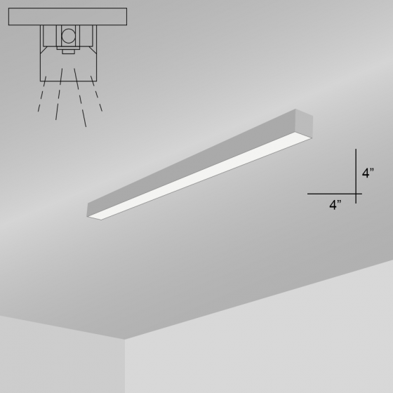 Alcon Lighting 11138-2-S i44 Series Architectural LED 2 Foot Linear Surface Mount Direct Light Fixture